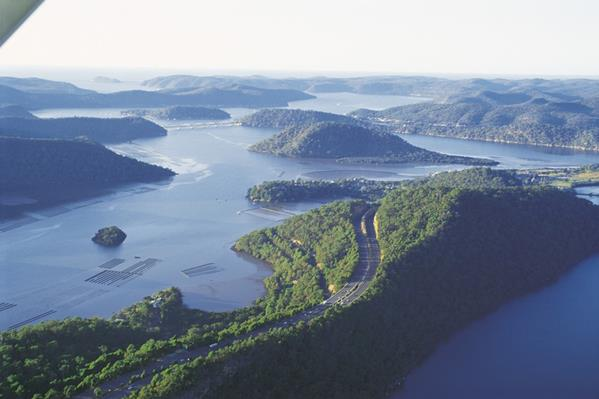 Aerial, Hawkesbury River: a great place to visit in New South Wales.  Image © Destination NSW. This photo sponsored by Garden Lighting &-or Design Category.