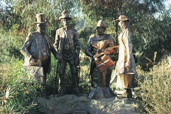 Dad n Dave Statues - Gundagai: a great place to visit in New South Wales.  Image &copy Unknown Photographer. This photo sponsored by Building Designers Category.